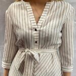black and white striped dress front close up