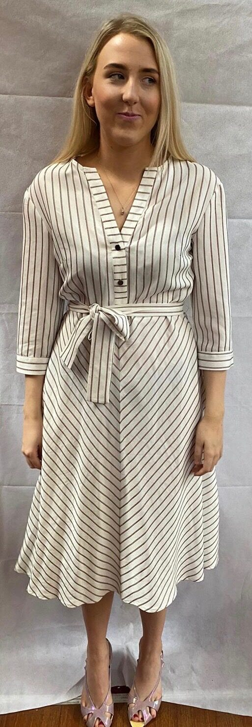 black and white striped dress front